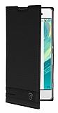 Sony Xperia XA Gizli Mıknatıslı Yan Kapaklı Siyah Deri Kılıf