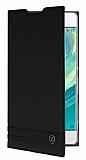 Sony Xperia XA Ultra Gizli Mıknatıslı Yan Kapaklı Siyah Deri Kılıf