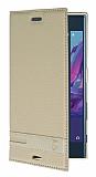 Sony Xperia XZ Gizli Mıknatıslı Yan Kapaklı Gold Deri Kılıf
