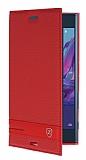 Sony Xperia XZ Gizli Mıknatıslı Yan Kapaklı Kırmızı Deri Kılıf