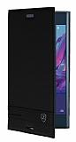 Sony Xperia XZ Gizli Mıknatıslı Yan Kapaklı Siyah Deri Kılıf