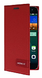 Eiroo Phantom Huawei Ascend G7 Gizli Mıknatıslı Yan Kapaklı Kırmızı Deri Kılıf