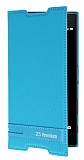 Sony Xperia Z5 Premium Gizli Mıknatıslı Yan Kapaklı Mavi Deri Kılıf