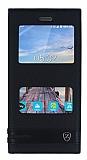 Turkcell T70 Gizli Mıknatıslı Pencereli Siyah Deri Kılıf