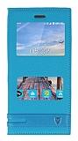 Turkcell T70 Gizli Mıknatıslı Pencereli Mavi Deri Kılıf