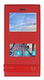 Turkcell T70 Gizli Mıknatıslı Pencereli Kırmızı Deri Kılıf