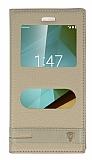 Vodafone Smart 7 Style Gizli Mıknatıslı Pencereli Gold Deri Kılıf