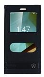 Vodafone Smart 7 Style Gizli Mıknatıslı Pencereli Siyah Deri Kılıf