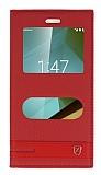 Vodafone Smart 7 Style Gizli Mıknatıslı Pencereli Kırmızı Deri Kılıf