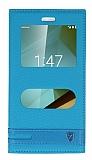 Vodafone Smart 7 Style Gizli Mıknatıslı Pencereli Mavi Deri Kılıf