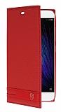 Eiroo Phantom Xiaomi Mi 5 Gizli Mıknatıslı Yan Kapaklı Kırmızı Deri Kılıf