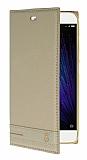 Xiaomi Mi 5 Gizli Mıknatıslı Yan Kapaklı Gold Deri Kılıf