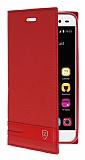 ZTE Blade V7 Lite Gizli Mıknatıslı Yan Kapaklı Kırmızı Deri Kılıf