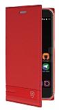 ZTE Blade V7 Gizli Mıknatıslı Yan Kapaklı Kırmızı Deri Kılıf