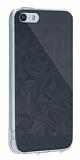 Eiroo Prism iPhone SE / 5 / 5S Silikon Kenarlı Kristal Siyah Rubber Kılıf