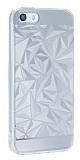 Eiroo Prism iPhone SE / 5 / 5S Silikon Kenarlı Silver Rubber Kılıf