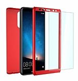 Eiroo Protect Fit 2 Huawei Mate 10 Lite 360 Derece Koruma Kırmızı Rubber Kılıf + Cam