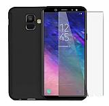 Eiroo Protect Fit 2 Samsung Galaxy A6 Plus 2018 360 Derece Koruma Siyah Rubber Kılıf + Cam
