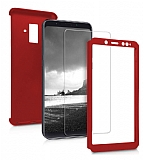 Eiroo Protect Fit 2 Samsung Galaxy A6 Plus 2018 360 Derece Koruma Kırmızı Rubber Kılıf + Cam