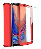 Eiroo Protect Fit 2 Samsung Galaxy A7 2018 360 Derece Koruma Kırmızı Rubber Kılıf + Cam
