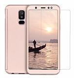 Eiroo Protect Fit 2 Samsung Galaxy J6 Plus 360 Derece Koruma Gold Rubber Kılıf + Cam