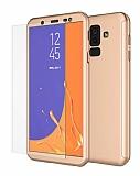 Eiroo Protect Fit 2 Samsung Galaxy J8 360 Derece Koruma Gold Rubber Kılıf + Cam