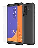 Eiroo Protect Fit 2 Samsung Galaxy J8 360 Derece Koruma Siyah Rubber Kılıf + Cam