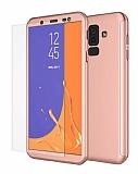 Eiroo Protect Fit 2 Samsung Galaxy J8 360 Derece Koruma Rose Gold Rubber Kılıf + Cam