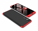 Eiroo Protect Fit Huawei P20 Pro 360 Derece Koruma Kırmızı-Siyah Rubber Kılıf