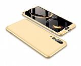Eiroo Protect Fit Huawei P20 Pro 360 Derece Koruma Gold Rubber Kılıf