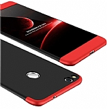 Eiroo Protect Fit Huawei P9 Lite 2017 360 Derece Koruma Siyah-Kırmızı Rubber Kılıf