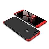 Eiroo Protect Fit Huawei Y7 2018 360 Derece Koruma Siyah-Kırmızı Rubber Kılıf