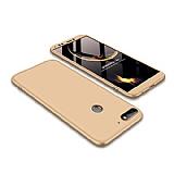 Eiroo Protect Fit Huawei Y7 2018 360 Derece Koruma Gold Rubber Kılıf