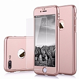 Eiroo Protect Fit iPhone 7 Plus / 8 Plus 360 Derece Koruma Rose Gold Rubber Kılıf