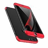 Eiroo Protect Fit iPhone 7 Plus / 8 Plus 360 Derece Koruma Siyah-Kırmızı Rubber Kılıf