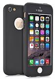Eiroo Protect Fit iPhone SE / 5 / 5S 360 Derece Koruma Siyah Rubber Kılıf