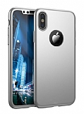 Eiroo Protect Fit iPhone X 360 Derece Koruma Silver Rubber Kılıf
