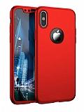 Eiroo Protect Fit iPhone X / XS 360 Derece Koruma Kırmızı Rubber Kılıf