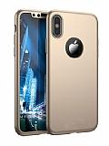 Eiroo Protect Fit iPhone X 360 Derece Koruma Gold Rubber Kılıf