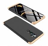Eiroo Protect Fit Oppo A5 2020 360 Derece Koruma Gold-Siyah Rubber Kılıf