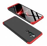Eiroo Protect Fit Oppo A5 2020 360 Derece Koruma Kırmızı-Siyah Rubber Kılıf