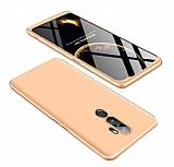 Eiroo Protect Fit Oppo A9 2020 360 Derece Koruma Gold-Siyah Rubber Kılıf