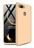 Eiroo Protect Fit Oppo AX7 / Oppo A5s 360 Derece Koruma Gold Rubber Kılıf