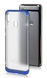 Eiroo Protect Fit Samsung Galaxy A20 / A30 360 Derece Koruma Şeffaf Lacivert Rubber Kılıf