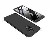 Eiroo Protect Fit Samsung Galaxy A6 Plus 2018 360 Derece Koruma Siyah Rubber Kılıf