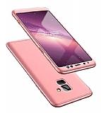 Eiroo Protect Fit Samsung Galaxy A8 Plus 2018 360 Derece Koruma Rose Gold Rubber Kılıf