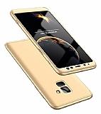 Eiroo Protect Fit Samsung Galaxy A8 Plus 2018 360 Derece Koruma Gold Rubber Kılıf