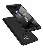 Eiroo Protect Fit Samsung Galaxy A8 Plus 2018 360 Derece Koruma Siyah Rubber Kılıf