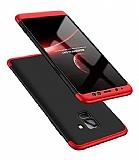 Eiroo Protect Fit Samsung Galaxy A8 Plus 2018 360 Derece Koruma Kırmızı-Siyah Rubber Kılıf