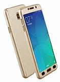Eiroo Protect Fit Samsung Galaxy C7 Pro 360 Derece Koruma Gold Rubber Kılıf